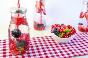 Drinking water is beneficial for skin health! Love it laced with fruit and vegetables!